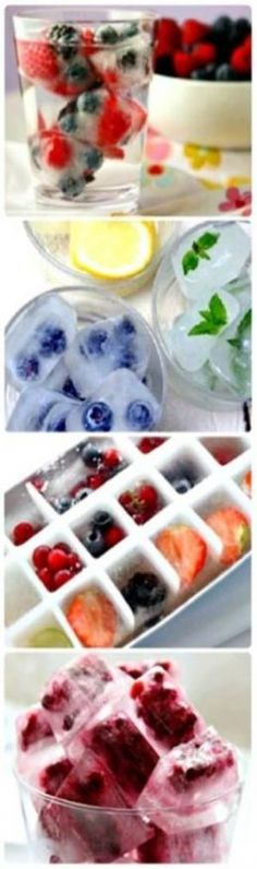 Frozen Fruit Ice Cubes by gena - Getränke - Frozen Fruit Recipes Healthy Drinks, Healthy Snacks, Fruit Ice Cubes, Infused Water Recipes, Snacks Für Party, Fruit Party, Party Recipes, Tasty, Yummy Food