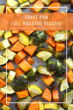 Nothing screams fall more than a hot pan of roasted seasonal veggies! These sheet pan veggies are so yummy! I used sweet potato, zucchini, yellow squash, and brussel sprouts! They are simple and easy to make, and there is something for everyone. Brussel Sprouts And Zucchini Recipe, Sweet Potato Zucchini Recipe, Roasted Zucchini And Squash, Yellow Squash Recipes, Roast Zucchini, Sweet Potato Recipes, Veggie Recipes, Healthy Recipes, Recipes