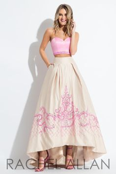 b97f8d0932c Rachel Allan 7519 is a strapless Mikado two piece gown with a beaded full  skirt with. French Novelty