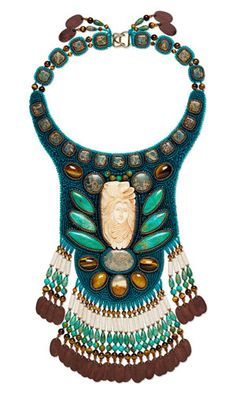 Bib-Style Necklace with Gemstone Beads and Cabochons, Seed Beads and Bone Beads and Embellishment - Fire Mountain Gems and Beads