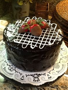 """8"""" fake chocolate cake with chocolate dipped strawberry toppings! $25.00 on etsy. www.etsy.com/shop/countercakes"""