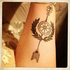 Arrow Tattoo With Circle On Forearm