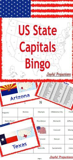United States Capitals Bingo Classroom Activity W 35 Bingo Cards