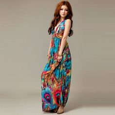 a5ba754fb3fe7f Alluring V-Neckline Peacock Print Sleeveless Maxi Dress For Women