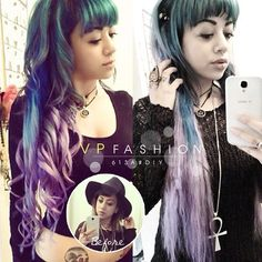 blue purple hair curls and colors