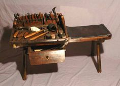 Itinerant cobbler's work bench including tools, British circa 1820