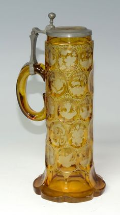 Bohemian Amber Clear Glass Stein Stained Amber, 34 Wheel-Cut Scenes, On A Circle-Cut Body, Matching Glass Inlaid Lid - Bohemain Cut Glass, Glass Art, German Beer Mug, Bohemia Glass, Bohemian Art, Beer Mugs, Carnival Glass, Amber Glass, Glass Design