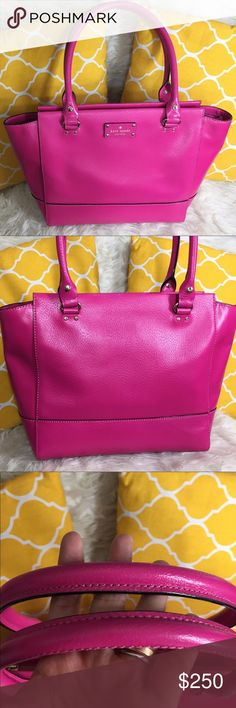 "OFFERS?Kate Spade All Leather Large Pink Purse AuthenticExcellent shape. Minimal sign of use. This pretty in pink purse features zip top to close, top handle, 3 pockets inside, metal feet for protection and a gold hardware. Offers a large amount of space. Great for work/school/travel or just an everyday use. Carry it by arm/hand or shoulder. Comes with carecard. Don't be shy to make an offer Dimensions: L16.5"" H11"" Bottom Width6"" Handle Drop8"" Bundle & save on shipping fee kate spade Bags…"