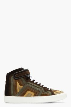 PIERRE HARDY Khaki rainbow banded suede High-top Sneakers