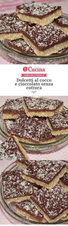 Dolcetti al cocco e cioccolato senza cottura. I don't know what this really is bc I can't read that language but it looks good ) Italian Cake, Italian Desserts, Italian Recipes, Italian Meals, Torta Angel, Sweet Recipes, Cake Recipes, Kenwood Cooking, Pie Dessert