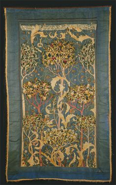 The Orchard, an embroidered wall hanging by May Morris, 1896. Silk thread on silk ground. #morris #design
