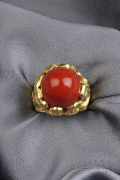 18kt Gold and Coral Ring, Cannilla, Masenza, Italy