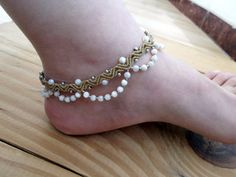 Mother of pearl macrame anklet tribal anklet by SelinofosArt