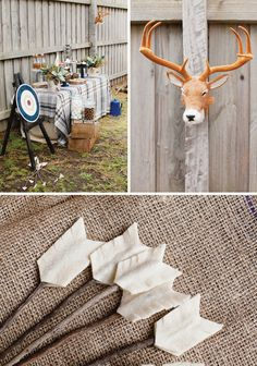 Oh my goodness!  Cutest party EVER!  diy-felt-arrows-camping #hwtm