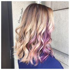 Blonde balayage and purple peekaboo by @amy_ziegler #versatilestrands
