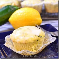 Lemon Zucchini Muffins from The Foodie Army Wife #Breakfast #Baking