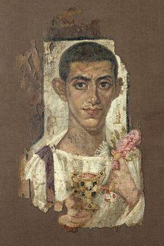 fragment de linceul funerair portrait d'ammonios 3 s
