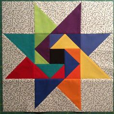 Doesn't this quilt remind you of a super fun jig saw puzzle? I love the bold colors!Risultati immagini per double friendship star quilt patternI like how every other star point color flows into one of the flying geese segments in the center block. Mini Quilts, Scrappy Quilts, Patchwork Quilting, Big Block Quilts, Star Quilt Blocks, Star Quilts, Barn Quilt Patterns, Pattern Blocks, Crazy Quilting