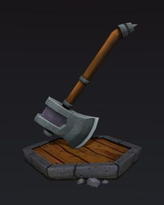 Low poly axe. Created in blender. Hand painted texture.