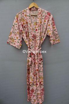 Hand Printed Fabric, Printed Cotton, Printing On Fabric, Cotton Kimono, Bridesmaid Robes, Kimono Dress, Indian, Handmade, Kimono Dressing Gown