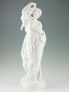 Große Albert Carrier-Belleuse Biskuit Porzellan Figur 1850 Weiblicher Akt & Amor