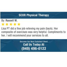 Lisa PT did a fine job relieving my pain (back). Her composite of exercises was very...