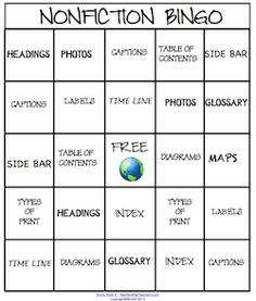 Kids learn nonfiction features when they play nonfiction Bingo! Run a weekly nonfiction contest! Laminate for future use. priced item
