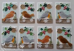 ATC cards by Chantal with ATC & Pocket Letter Die (PL6501), Collectables Eline's Birds (COL1392), Craftables Wood (CR1348), Punch Die Snowflakes (CR1335) and Christmas Bells (CR1343) from Marianne Design