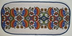 Vintage Linen Table Topper Printed Folk Art by MereZeDotesVintage, $20.00