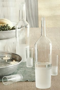 Frosted Aperitif Glasses & Bottle