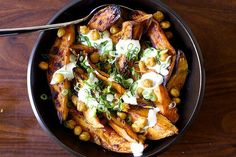 roasted yams and chickpeas with lime yogurt (trying the chili honey for the roasting part)