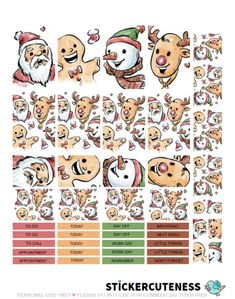 Free Printable Christmas Fun Planner Stickers from StickerCuteness Types Of Planners, Best Planners, Day Planners, Planner Pages, Planner Ideas, Life Planner, Happy Planner, Printable Planner Stickers, Free Printable