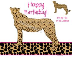 Cheetah - Pin the Tail on the Cheetah Birthday Game INSTANT DOWNLOAD digital files