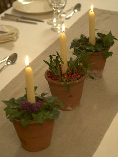 Terra Cotta Candleholders—Turn three simple terracotta pots into stylish candleholders: line the base of each with recycled aluminum foil, put a beeswax candle in the center, pack sand around each candle and cover the sand with a pretty arrangement of fresh foliage and bright berries.