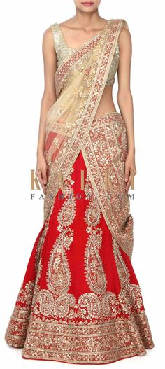 Buy this Red unstitched leehgna adorn in paisley motif work only on Kalki