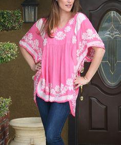 Look at this #zulilyfind! Pink & White Floral Embroidered Side-Slit Tunic #zulilyfinds