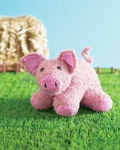 The tail on this cute piglet is the perfect touch in this stuffed animal knitting pattern from Bernat Yarns. Give to a little child who wants a little pig to cuddle.