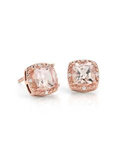 Chic and elegant, these earrings shine with cushion cut morganite gemstones accented by diamonds framed in 14k rose gold.