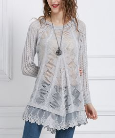 Look at this #zulilyfind! Simply Couture Gray Sheer Lace-Trim Tunic by Simply Couture #zulilyfinds