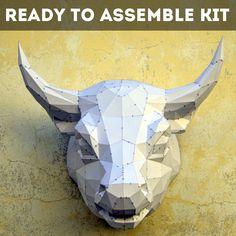 Ready To Assemble Kit For Bull.   FREE SHIPPING   Bull Papercraft   Animal Papercraft   Toledo   PlainPapyrus   Raging Bull   Wild Animal by PlainPapyrus on Etsy
