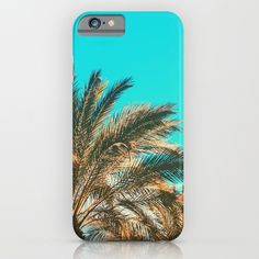 Tropical Palm Trees - Vintage Turquoise Sky iPhone Case by staypositivedesign