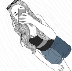 outline, art, and drawing image Tumblr Girl Drawing, Girl Drawing Sketches, Tumblr Drawings, Dark Art Drawings, Cute Girl Drawing, Girl Sketch, Tumblr Outline, Outline Art, Outline Drawings
