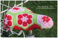 Crochet bike seat cover