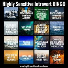 """Highly sensitive #introvert bingo """"I just got Bingo reading the first line and then I was moved to tears and realized that was another box!"""" Looking normal, screaming and crying in my head right now. #mbti"""