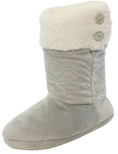ed333674f PajamaMania Women's Pressed Fleece Slipper boots with Rubber Sole and  Velcro Closure
