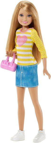 Barbie doll loves hanging with her sisters, and to celebrate their special bonds, she devotes one whole special day just for them -- Sisters' Fun Day! Watch the Barbie Life in the Dreamhouse special, then play out fun sister stories with this fabulous Stacie doll wearing a daytime outfit that blends her signature style with on-trend fashion. Dressed for her special sister day with Barbie doll (sold separately), she looks picture-perfect in a cute denim skirt and heart-decorated yellow top…