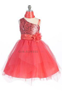 Coral Sparkly Sequined Asymmetrical and Tulle Overlaid Flower Girl Dress G3444-CO G3444-CO $48.95 on www.GirlsDressLine.Com