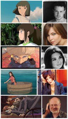 'Spirited Away' characters & American voice actors.