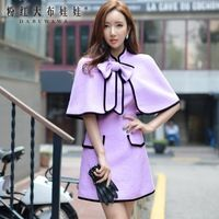Boneca de rosa 2016 coreano novo inverno casaco fino de tweed feminino arco grosso casaco de lã D15DOT003