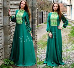 Embroidery Vyshyvanka Maxi Dress Green Woman Long Dress